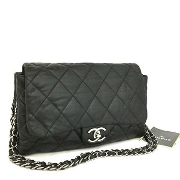 CHANEL Quilted Silver Hardware CC Logo Lambskin w/Chain Shoulder Bag / bADD x