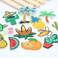 Many optional rainbow fruit patches clothing iron embroidered patch applique iron on patches sewing accessories badge clothes