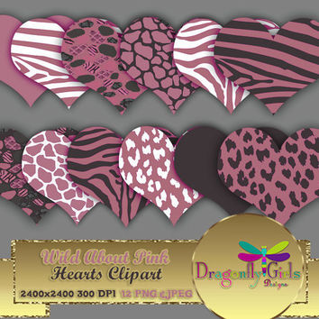 "80% OFF Sale WILD About Pink 8"" Clip Art commercial use, digital scrapbook papers, vector graphics, printable, Instant Download"