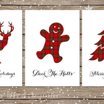 5x7 printable christmas card set, Tartan Christmas, printable holiday cards DIY, Merry Christmas,Deck the halls,red plaid decor,deer, antler
