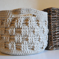 Large Storage Basket Rustic Home Decor Beige Catchall Crocheted Decor Supply Holder