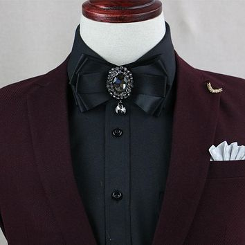 Fashion Ribbon Bow Ties For Men Suits Neck Ties For Wedding Party Women Pendant Banquet Collar Bow Tie