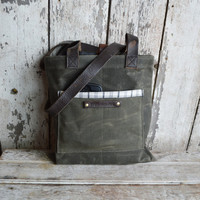 Small Waxed Canvas Reader: Moss by Peg and Awl