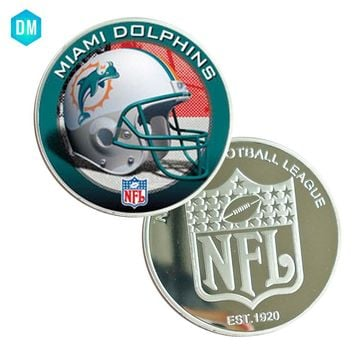 American NFL 39mm Coin Holder for Necklace  Coins Collectibles  MIAMI DOLPHINS American Football NFL Coin