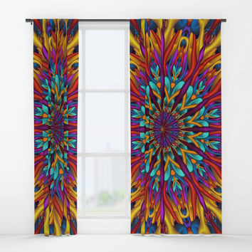 Amazing colors 3D mandala Window Curtains by Natalia Bykova