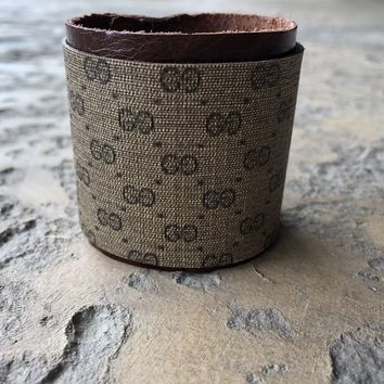Large Width Cuff Bracelet Made From Upcycled Vintage Gucci Micro GG