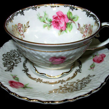 March Sale Schumann Germany US Zone China Demitasse Cup & Saucer Gilded Floral Pink Roses