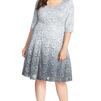 Plus Size Women's Chetta B 'Magic' Ombre Lace Fit & Flare Dress,