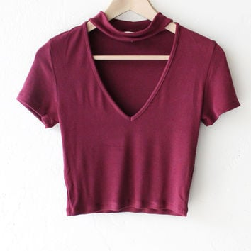 Choker V-neck Crop Top - Burgundy