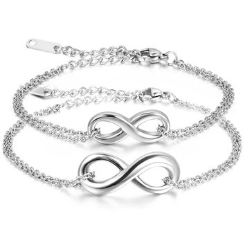 BONISKISS 316L Couple Lover Stainless Steel Infinity Bracelet Charm Bracelets with Gift Bag