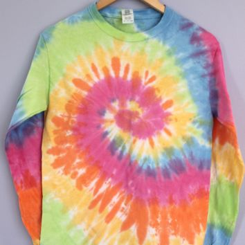 Pastel Rainbow Tie-Dye Long Sleeve Tee