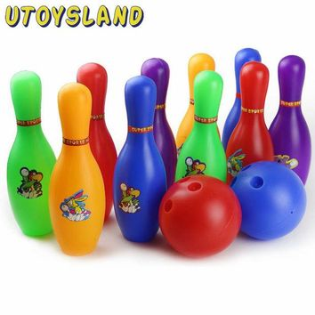 DCCKL3Z UTOYSLAND Colorful Cartoon Standard Bowling Set 10 Pins, 2 Bowling Balls Children Kids Educational Toys Indoor Outdoor Sport