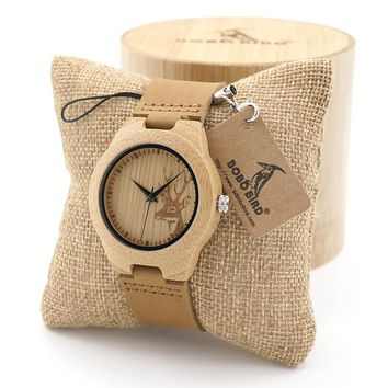 BOBO BIRD Wooden Watch Ladies Engrave Deer Bamboo Dial Quartz Wristwatch with Genuine Leather Band in Gift Box