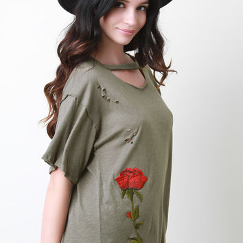 Single Embroidered Rose Distress T-Shirt Top | UrbanOG
