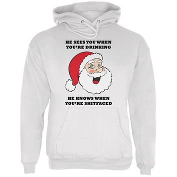 Christmas Santa He Sees You When You're Drinking Mens Hoodie