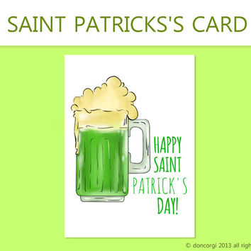 St Patricks Day Card, Greeting Cards for St Pattys, INSTANT DOWNLOAD