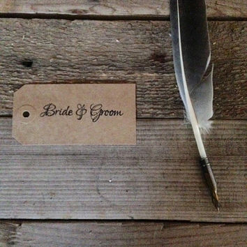 Bride & groom  hand stamped gift tags