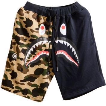 Bape Aape new summer men wear popularcamouflage shark mouth print sports short Camouflage+navy blue