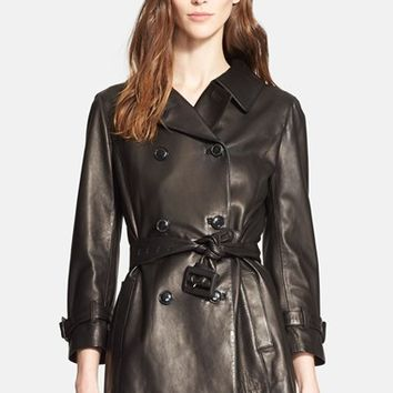 Women's Nordstrom Signature and Caroline Issa Lambskin Leather Trench Coat