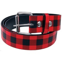 Red Plaid Leather Belt