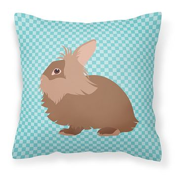 Lionhead Rabbit Blue Check Fabric Decorative Pillow BB8134PW1818