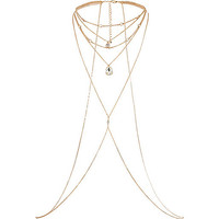 Gold tone crystal draped body harness - necklaces - jewellery - women