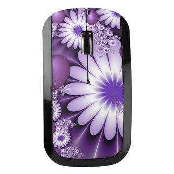 Falling in Love Abstract Flowers & Hearts Fractal Wireless Mouse