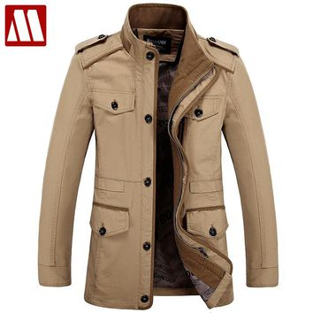 Plus size S-6XL 2018 New Arrival Men's Fashion Jackets Casual Spring Autumn Jacket Cotton Stand Collar Military Coat 3 Colors