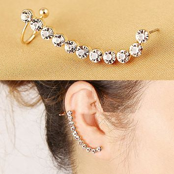 1 PC Shiny Rhinestone Gold Clip Earring