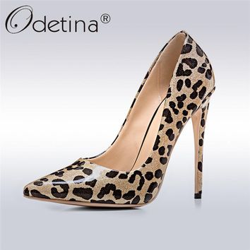 Odetina 2018 New Fashion Extreme High Heels Women Luxury Leopard Pumps Lady Patent Leather Sexy Club Party Shoes Stiletto Heels
