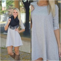Symphony Dress (Heather Grey) - Piace Boutique