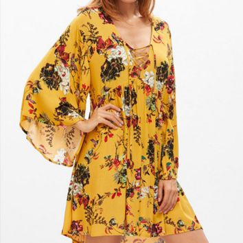 Fashion Flower Print Deep V-Neck Long Sleeve Ruffle Mini Dress