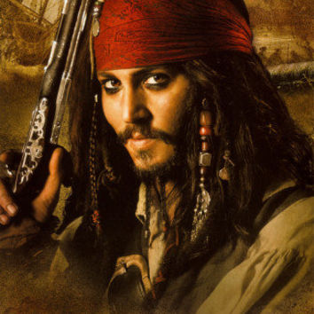 Pirates of the Caribbean 2 Movie Johnny Depp Holding Gun Photo at AllPosters.com