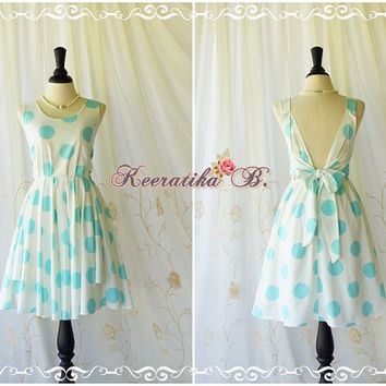 A Party V Shape Dress White Mint Blue Polka Dot Backless Dress Wedding Bridesmaid Dress Prom Party Dress Vintage Retro Inspired Custom Made