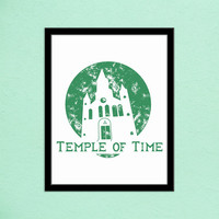 Zelda Temple of Time Typography Print | Ocarina of Time | Minimalist Poster | Video Game Decor | Video Game Print | Hand Lettered Type Print