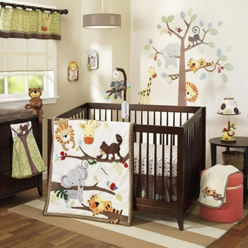 Lambs & Ivy Treetop Buddies 6 Pc Baby Nursery Crib Bedding Set w Bumper & Mobile