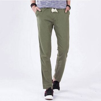 HCXY 2017 spring and summer linen pants straight mens pants casual fashion with elastic hemp linen trousers men