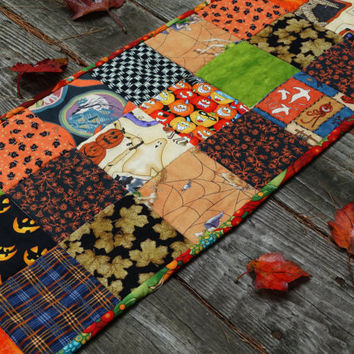 Patchwork Table Runner, Halloween Quilted Table Centerpiece, Glow In The Dark Fabrics, Autumn Decor, Quilted Table Topper, Little Quilt