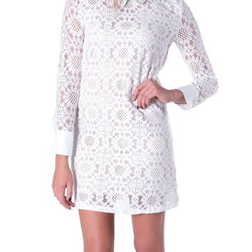 Carla's Lace Shift Dress - White/Nude