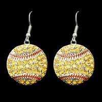 Softball Crystal Earrings