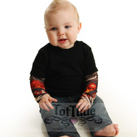 Black Baby Bodysuit Onesuit Tattoo Sleeve Shirt