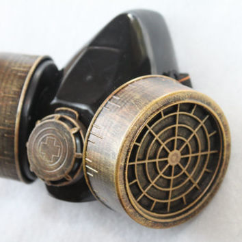 Steampunk Gas Mask Brass Copper Industrial Goth Roleplay Nuclear Chemical Cyber Respirator EDC