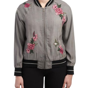 Rose Embroidered Bomber Jacket-Jackets & Vests-Boutique-Shops-Women | Stein Mart