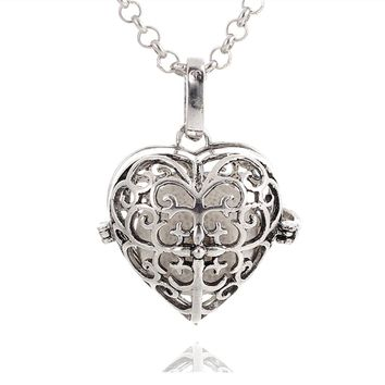 Vintage Silver Love Heart Lava Rock Aroma Necklace Essential Oil Diffuser Bohemian Locket Pendant Necklace Comes with 70cm Chain