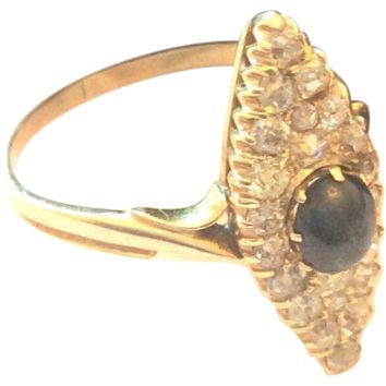 Marquise Diamond Ring Sapphire 18K Gold Ring Russian Art Deco Engagement Ring, 1920s, Vintage Jewelry SALE
