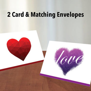 "Valentine's Day Cards with Matching Envelopes - Set of 2 Printable Cards and 3 Envelopes | 5"" Wide x 3.5"" Tall Greeting Cards 