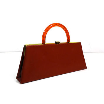 Vintage vinyl leatherette clutch purse with fold-in bakelite handle, mid century fashion, convertible from handbag to clutch