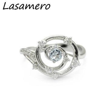 LASAMERO Natural Blue Topaz 925 Sterling Silver Ring Fine Jewelry Natural Gemstone Engagement Ring for Women