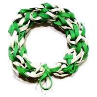 Boston Celtics Green and White Rubber Band Bracelet - Go Green - Upcycled Rubber Bracelet