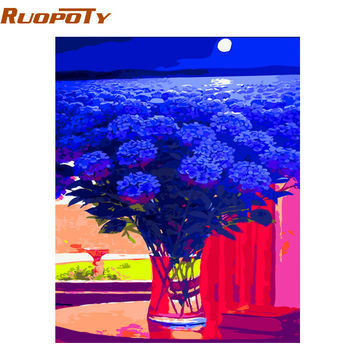 RUOPOTY Blue Flower Sea Abstract Diy Painting By Numbers Handpainted Oil Painting On Canvas Home Decor For Living Room Artwork